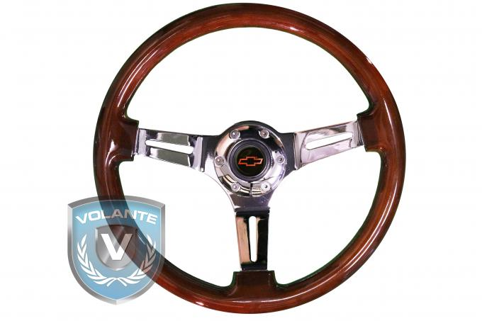 Red Bowtie Volante S6 Sport Steering Wheel Kit, with Slotted Chrome Spokes & Mahogany Grip