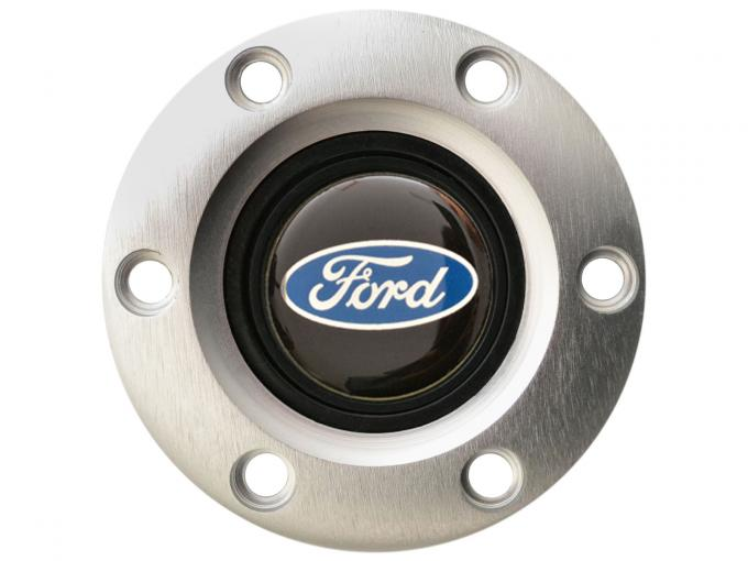 Volante S6 Series Horn Button Kit, Ford Blue Oval, Brushed