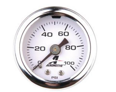 Aeromotive Inc. 15633 Gauge Fuel Pressure, 1-1/2 Inch Diameter, 100 PSI, Analog
