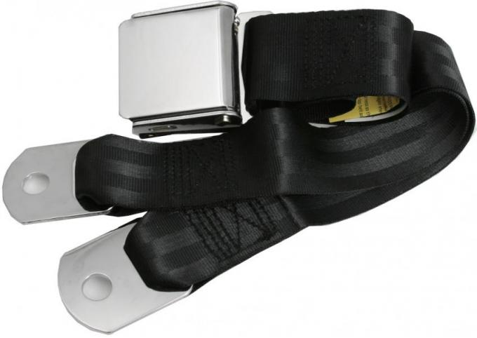 """Replacement Seat Belt, with Chrome Aviation-Style Lift Buckle (60"""" Webbing)"""
