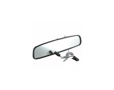 "Corvette 10"" Inside Rear View Mirror w/MAP Light, Black Back 1974-1976"