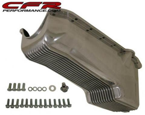 Chevy V8 Small Block Aluminum Stock Capacity Oil Pan, Driver Dipstick, Retro Finned