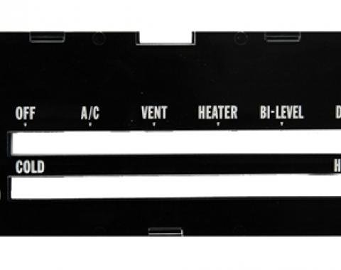 Classic Headquarters Camaro Heater Control Lens with Ac, with Backing Paper R-421