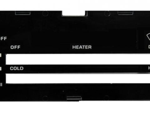 Classic Headquarters Camaro Heater Control Lens without Ac, with Backing Paper R-417