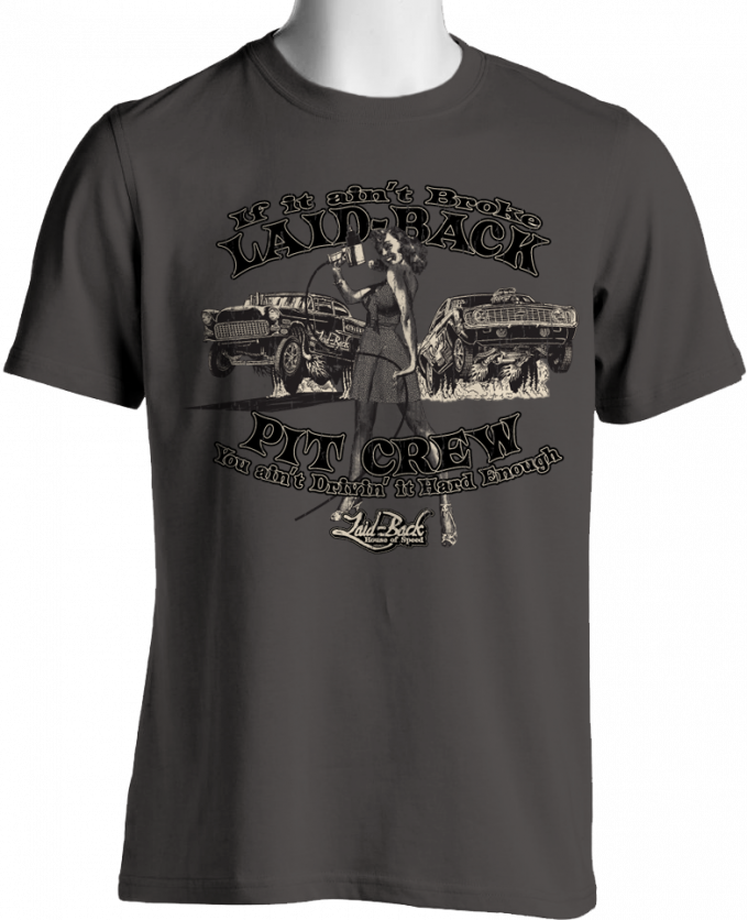 Laid Back Pinup Pit Crew Camaro Vs 1955 Chevy T-Shirt, Charcoal