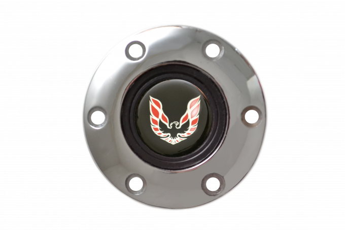 Volante S6 Series Horn Button Kit, Red Firebird, Chrome