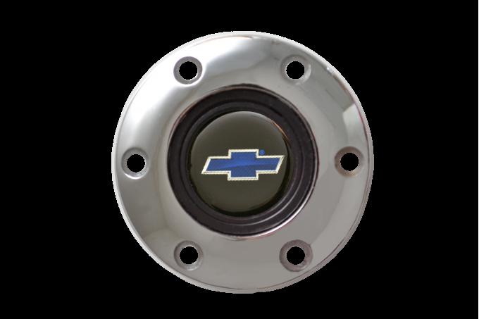 Volante S6 Series Horn Button Kit, Blue Bowtie, Chrome