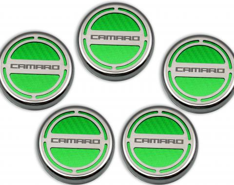"American Car Craft Chevrolet Camaro 2010-2015  Cap Cover Set Carbon Fiber ""Camaro"" Series Automatic 5pc CF Synergy Green 103071-SGRN"