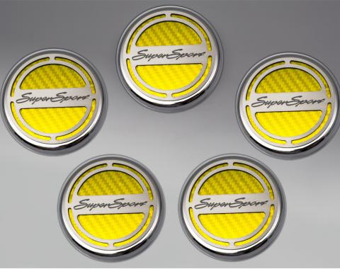 "American Car Craft Chevrolet Camaro 2010-2015  Cap Cover Set Carbon Fiber ""Super Sport"" Series Automatic 5pc CF Yellow 103075-YLW"