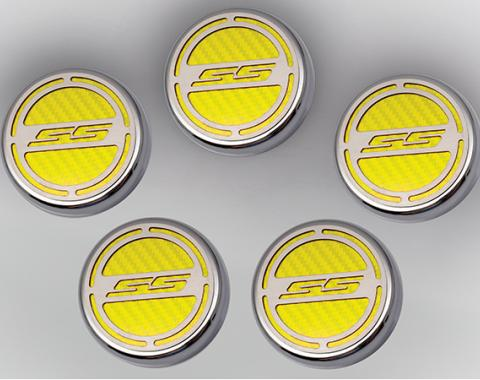 "American Car Craft Chevrolet Camaro 2010-2015  Cap Cover Set Carbon Fiber ""SS"" Series Automatic 5pc CF Yellow 103074-YLW"