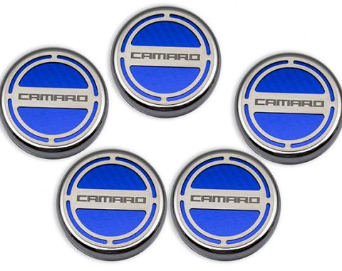 "American Car Craft Chevrolet Camaro 2010-2015  Cap Cover Set Carbon Fiber ""Camaro"" Series Automatic 5pc CF Blue 103071-BLU"