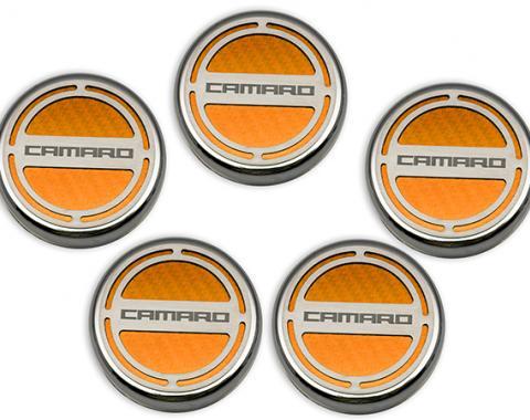 """American Car Craft Chevrolet Camaro 2010-2015  Cap Cover Set Carbon Fiber """"Camaro"""" Series Automatic 5pc CF Orange 103071-ORG"""