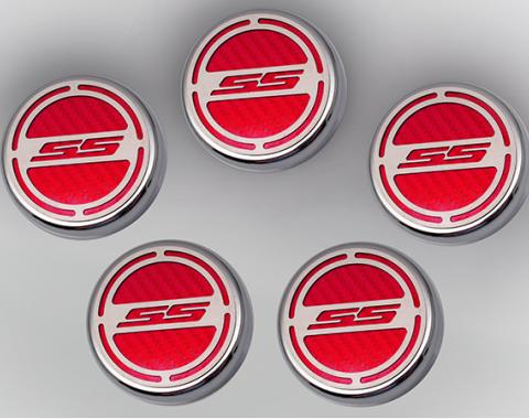 "American Car Craft Chevrolet Camaro 2010-2015  Cap Cover Set Carbon Fiber ""SS"" Series Automatic 5pc CF Red 103074-RD"