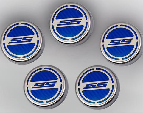 "American Car Craft Chevrolet Camaro 2010-2015  Cap Cover Set Carbon Fiber ""SS"" Series Automatic 5pc CF Blue 103074-BLU"