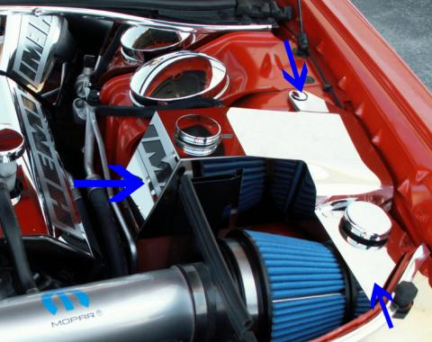 American Car Craft Water Tank/Power Steering Cover Polished w/Caps Mopar Slotted 303020