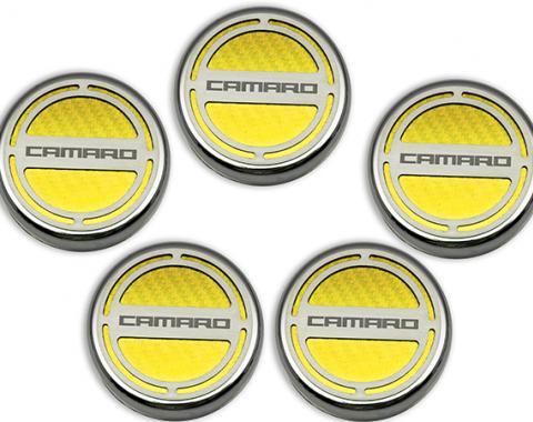 "American Car Craft Chevrolet Camaro 2010-2015  Cap Cover Set Carbon Fiber ""Camaro"" Series Automatic 5pc CF Yellow 103071-YLW"