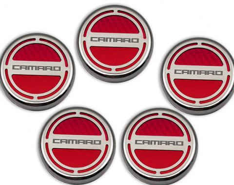 "American Car Craft Chevrolet Camaro 2010-2015  Cap Cover Set Carbon Fiber ""Camaro"" Series Automatic 5pc CF Red 103071-RD"