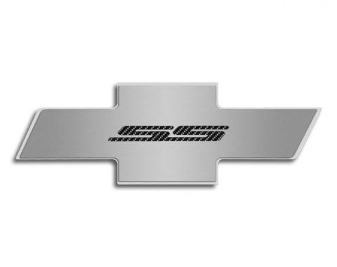 "American Car Craft Chevrolet Camaro 2010-2015  Hood Badge ""SS"" Stainless Emblem fits factory hood pad  Black Carbon Fiber 103066-BLK"