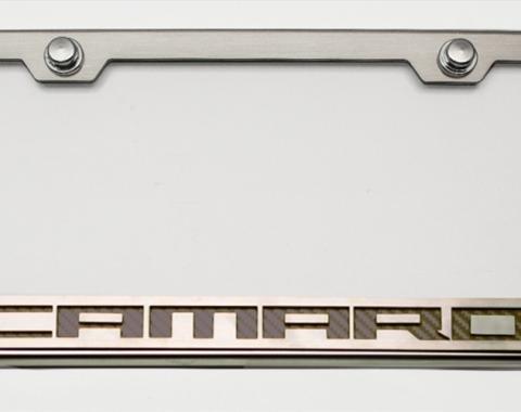 "American Car Craft Chevrolet Camaro 2010-2018  Tag Frame Chrome/Satin ""Camaro Style"" CF Orange 102043-ORG"