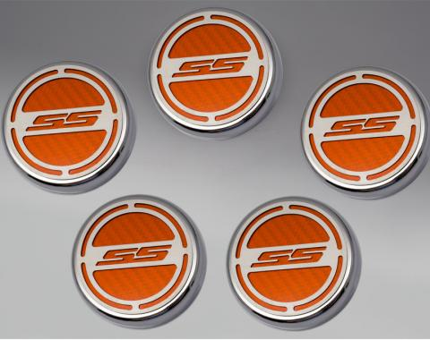 "American Car Craft Chevrolet Camaro 2010-2015  Cap Cover Set Carbon Fiber ""SS"" Series Automatic 5pc CF Orange 103074-ORG"