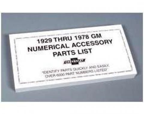GM Numerical Accessory Parts List,1929 Thru 1978