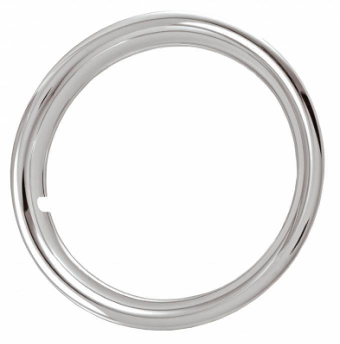 "Rally Wheel Trim Ring Set, 15"" Wheel, 1 3/4"" Deep, Chrome Plated Plastic"
