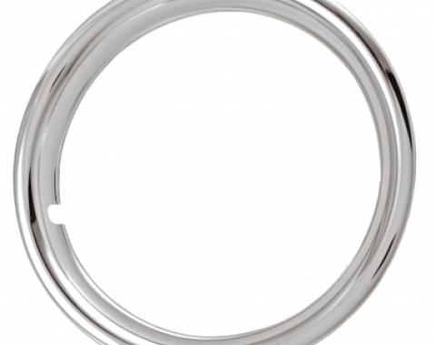 "Rally Wheel Trim Ring Set, 15"" Wheel, 1 3/4"" Deep, Chrome Plated Steel"