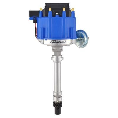 Proform HEI Distributor, Racing Type w/Vac-Adv, Blue Cap, Polished, For Chevy V8 Engines 66941BC