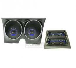 1968 Chevy Camaro Dakota Digital Dash With Console Gauges VHX System, Carbon Fiber Style Face, Blue Display