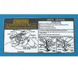 Camaro Jacking Instructions Decal, With Regular Size Spare,1974-1975