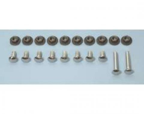 Camaro Bumper Mounting Bolt Set, Front & Rear, Polished Chrome, 1968-1969