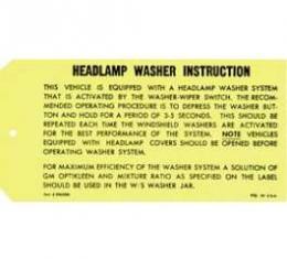 Camaro Headlight Washer Instruction Tag, 1969