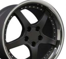 Camaro 18 X 10.5 C5 Style Deep Dish Reproduction Wheel, Matte Black With Rivets, 1993-2002