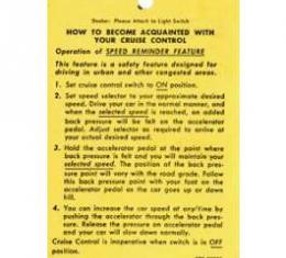 Camaro Cruise Control Operation Tag, 1967-1969