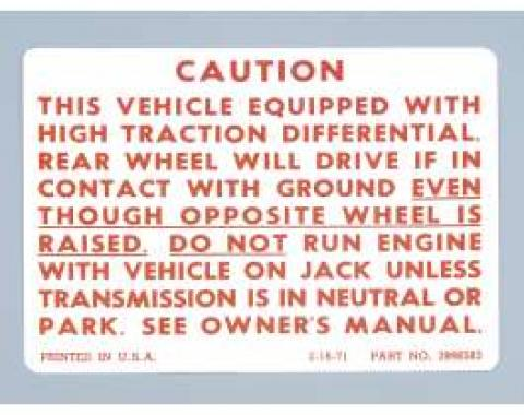 Camaro Caution Posi-Traction Decal, 1971-1978