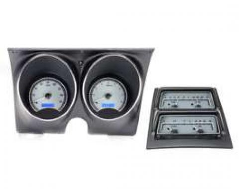 1968 Chevy Camaro Dakota Digital Dash With Console Gauges VHX System, Satin Alloy Style Face, Blue Display