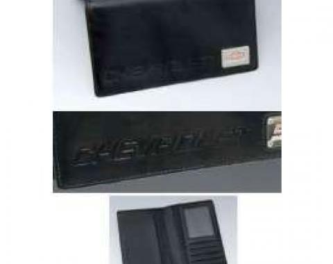 Camaro Checkbook Cover, Black Leather