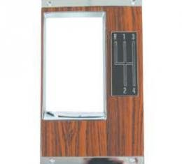 Camaro Center Console Shifter Plate, Manual Transmission, 4-Speed Shift Pattern, With Rosewood Insert, 1969