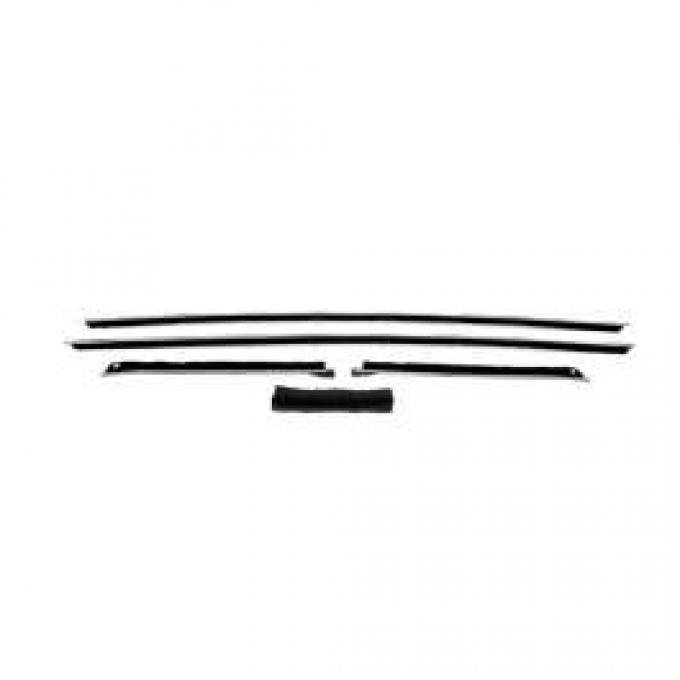 Camaro Outer Window Felt Kit, Coupe, With Round Stainless Steel Beads, 1968-1969