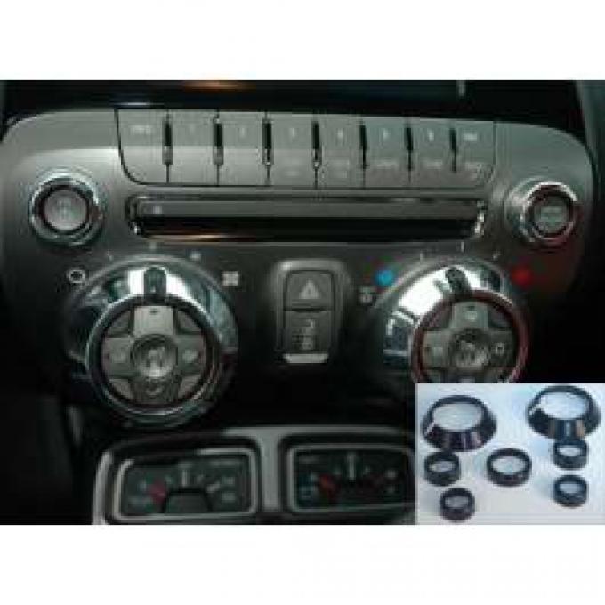 Camaro Interior Knob Set, Billet, Black, 7pc, 2010-2013