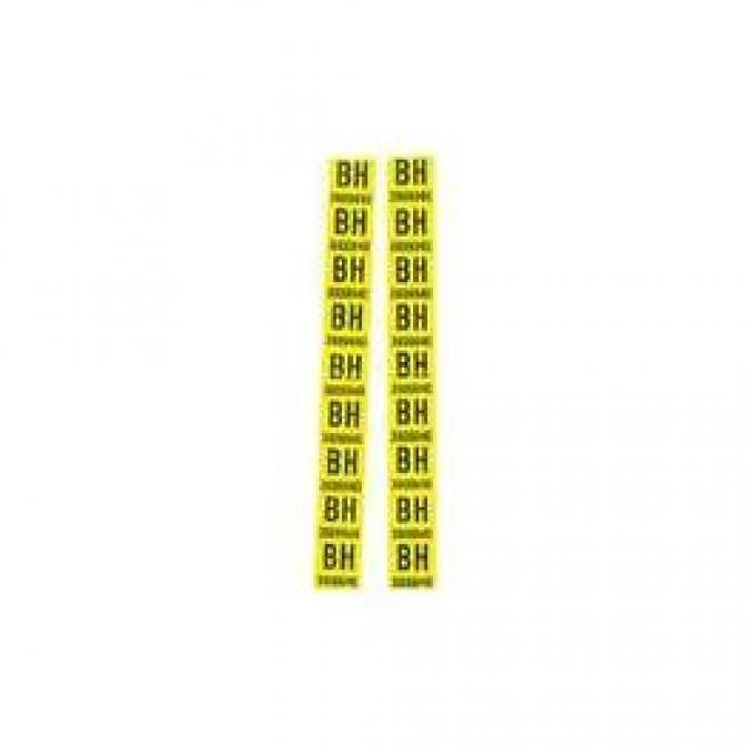 Camaro Leaf Spring Tape Decals, Code BH, Big Block, 1968
