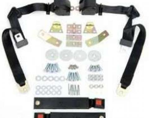 Camaro Shoulder Harness/Seat Belt Kit, 3-Point Retractable, With Black Buckle, 1967-1973