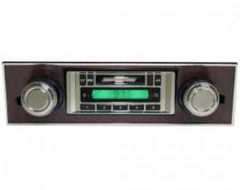 Camaro AM/FM Stereo Radio, USA-230, With Walnut Bezel, Custom Autosound, 1967-1968