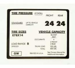Camaro Tire Pressure Decal, 1971-1972