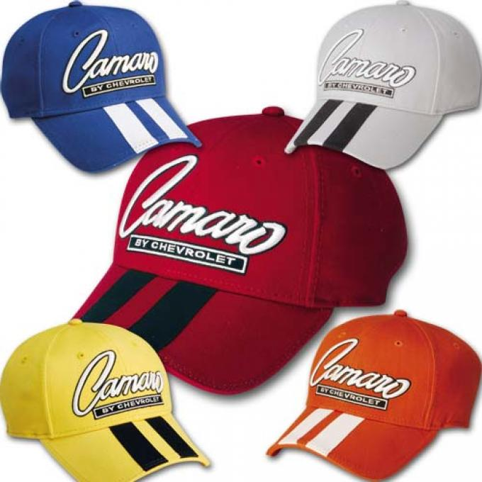 Camaro Cap, Classic Script With Rally Stripes