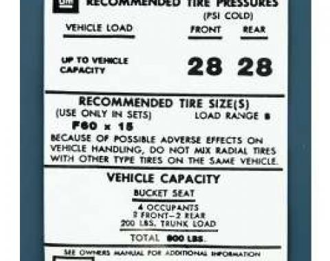Camaro Tire Pressure Decal, 1973-1974