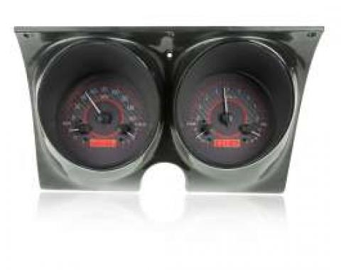Camaro Analog Dash Gauges, Dakota Digital, Carbon Fiber With Red Display, 1967-1968