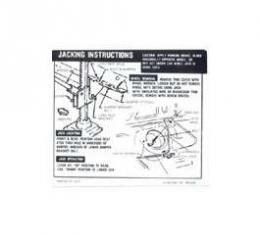 Camaro Jacking Instructions Decal, Trunk, Coupe, SS, 1968