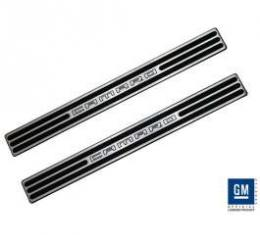 Camaro Door Sill Plates, Convertible, Two-Tone Black, 2011-2013