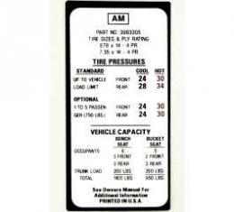 Camaro Tire Pressure Decal, 1970
